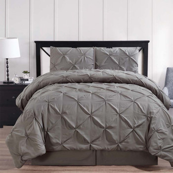 Gray-Oxford-Double-Needle-Luxury-Soft-Pinch-Pleated-Comforter-Set