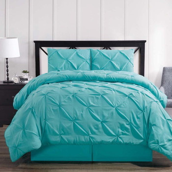 Aqua-Blue-Oxford-Luxury-Soft-Pinch-Pleated-Comforter-Set