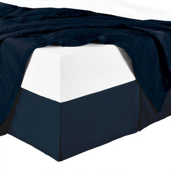 Split Corner Combed Cotton Solid 4500TC Bed Skirts-Navy