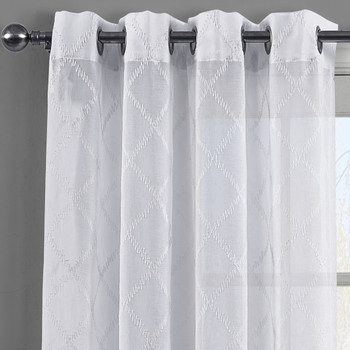 Harvard Embroidered Grommet Top Sheer Panel Curtain Pair-White Details