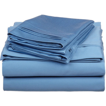 Blue-Olympic-Queen-100%-Cotton-600-TC-Triple -Pleated-Solid-Sheets