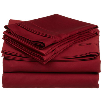 Burgundy-Olympic-Queen-100%-Cotton-600-TC-Triple -Pleated-Solid-Sheets