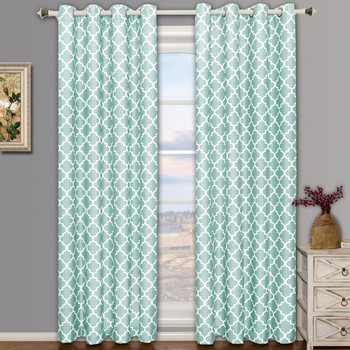 Meridian Teal Room Darkening Curtain