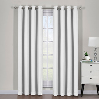 Greyish White Ava Blackout Weave Curtains Panels