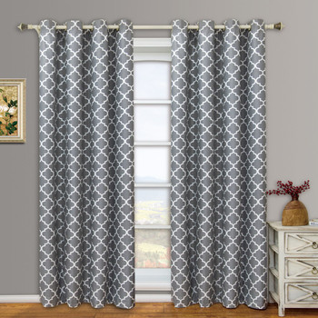 Meridian Room-Darkening Thermal Blackout Grommet Curtain Panels -Gray