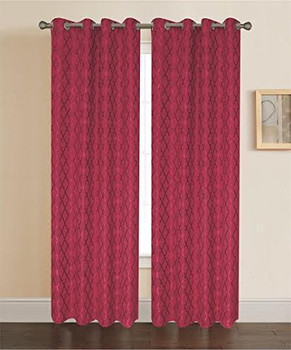 burgundy-Pamela-Geometric-pattern-curtain panels-Single