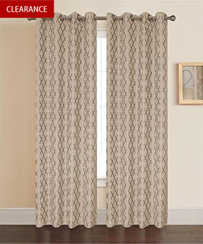 taupe-Pamela-Geometric-pattern-curtain panels-Single -clearance