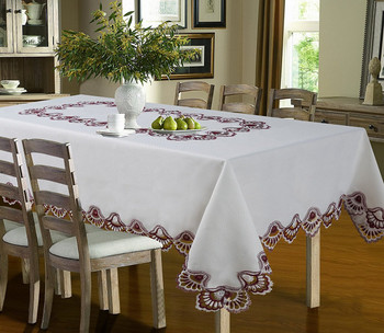 Luxury Crest Embroidered Table cloth-Burgundy