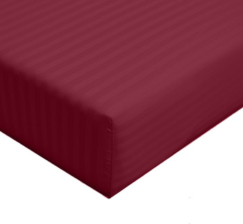 Twin-XL- fitted-sheet-stripe-300-thread-count-burgundy