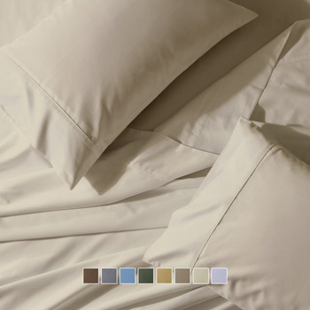 "Split Top ""Head Split"" California King Wrinkle-Free 650 Thread Count Cotton Blend Solid Sheet Sets"