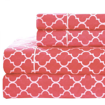 Printed Meridian 100% Cotton Percale Sheets Coral