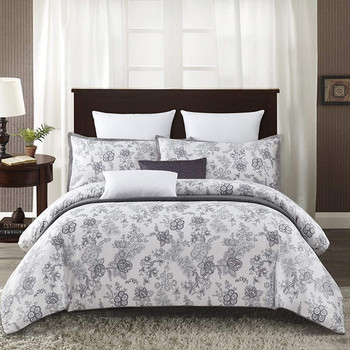 White Lotus 7 Piece Cotton Duvet Cover Set