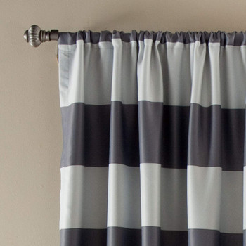 Grey Stripe Room Darkening Window Curtain Panel Pair