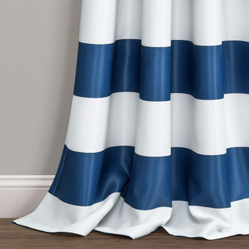 Navy Stripe Room Darkening Details