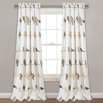 "Rowley Birds Curtain Panel Pair - 52"" W X 84"" L"