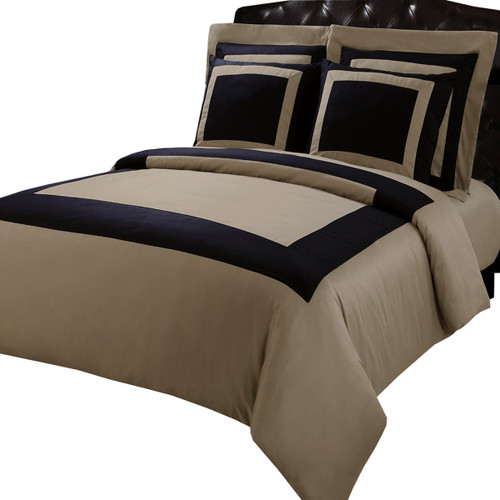 Black/Taupe-Hotel-100%-Cotton-5-PC-Duvet-Cover-Set