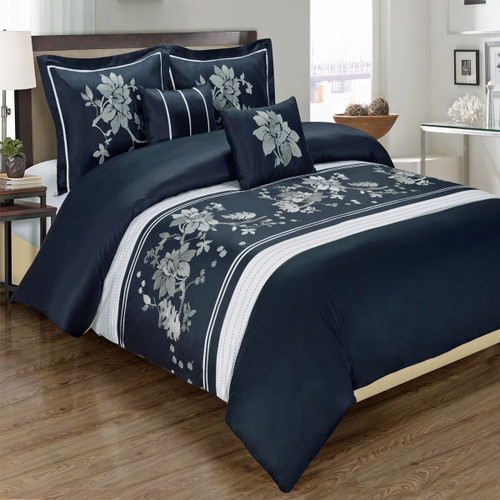 Navy-Myra 100% Cotton Navy 5-Piece Duvet Cover Set