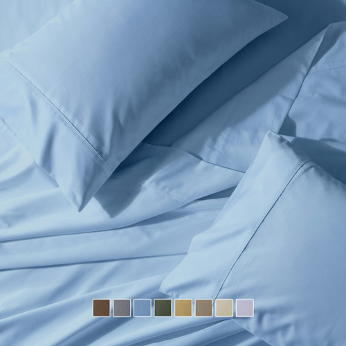 Wrinkle-Free 650 Thread Count Cotton Blend Solid Sheet Sets
