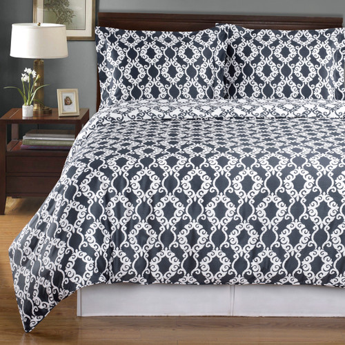 Dark Gray-Sierra-Silky-Soft-100-Percent-Cotton-Reversible-Duvet-Cover-Set