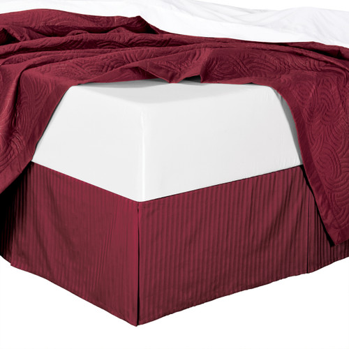 Stripe Bed Skirt 100% Microfiber - Burgundy