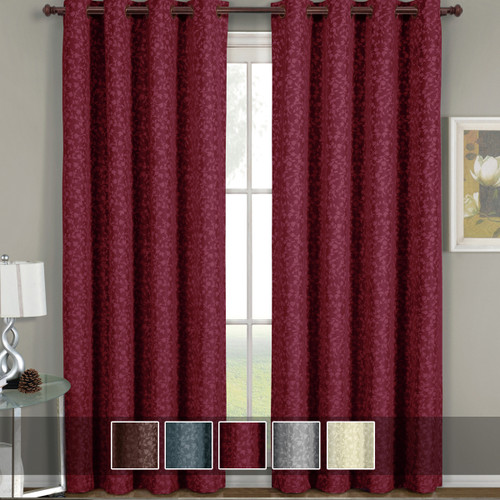 Fiorela Jacquard Drapes Floral Curtains Grommet Top Panel