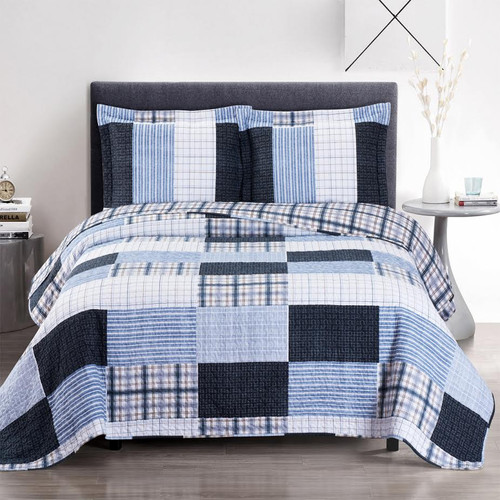 Zoe Reversible Blue Printed Patchwork Bed Quilt Set Image