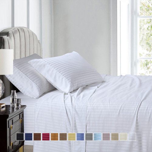 White-Luxury Split King Adjustable Bed Sheets 100% Cotton 600 Thread Count Damask Striped