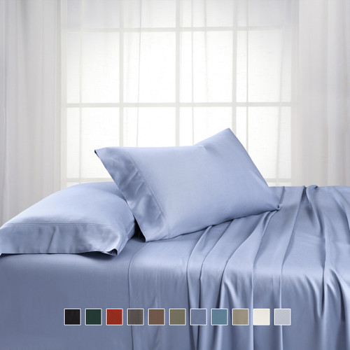 Periwinkle-Extra Long Twin Sheet Sets Bamboo Hybrid Cotton Blend