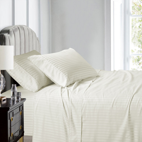Ivory-Olympic Queen Sheets 100% Cotton 500 Thread Count Damask Striped
