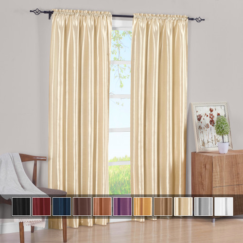 White Curtain Panels Soho Faux Silk (Set of 2)