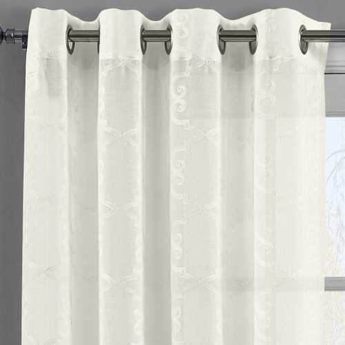 Details-Melanie Embroidered Grommet Top Sheer Panel Curtain Pair Beige