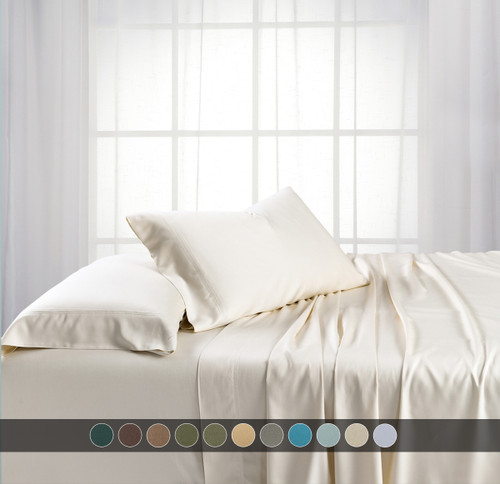 Ivory-California King Bamboo Bed Sheets with Deep Pockets 600 Thread Count
