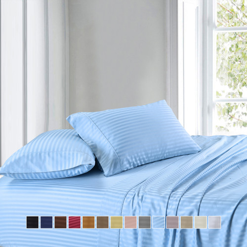 Blue-Luxury Cotton California King Sheets 300Tc Damask Striped Sheet Sets