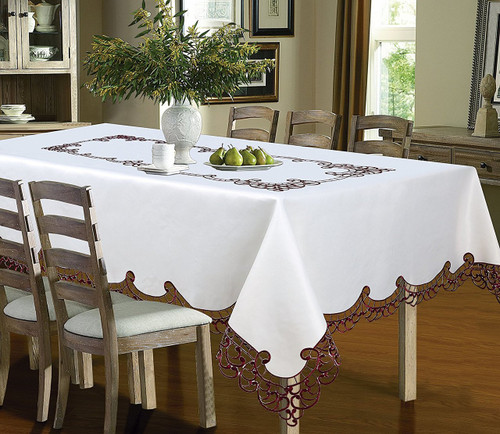 Holland Luxury Embroidered Table cloth-Burgundy