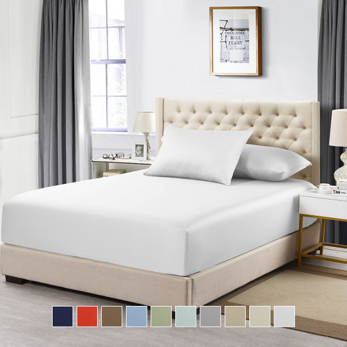 California King 100% Cotton Fitted Solid Sheet 600 Thread Count