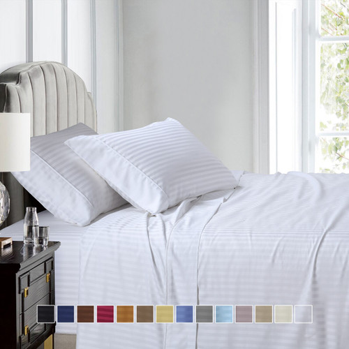 Split Queen Sheet Set 608 Thread Count 100% Cotton Damask Stripe