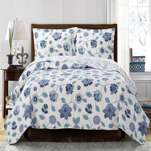 Miranda Solid With Spring Floral Print Quilted Coverlet SetImage