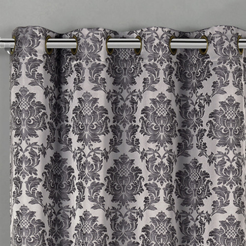 Aryanna Jacquard Floral Curtains With Top Grommets (Set of 2)- closeuo-Gray