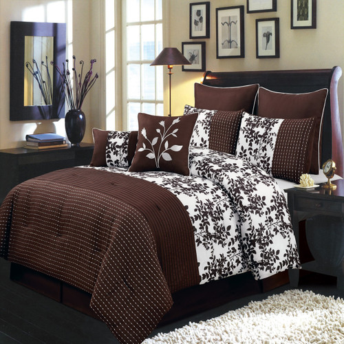 12-Piece-Bliss-Coffee-Bed-in-a-Bag-Bedding-Set