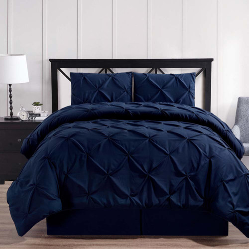 Navy-Oxford-Luxury-Soft-Pinch-Pleated-Comforter-Set