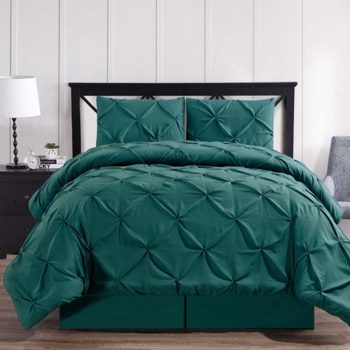 Teal-Oxford-Luxury-Soft-Pinch-Pleated-Comforter-Set