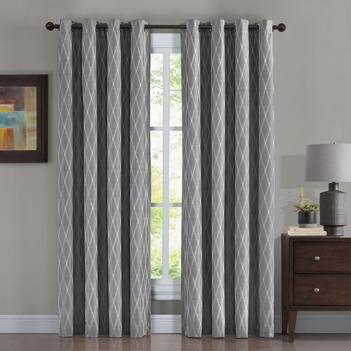 100% Blackout Curtain Jacquard Thermal Insulated Victoria Gray