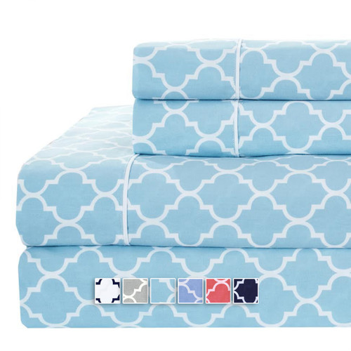 Printed Meridian 100% Cotton Percale Sheets Blue