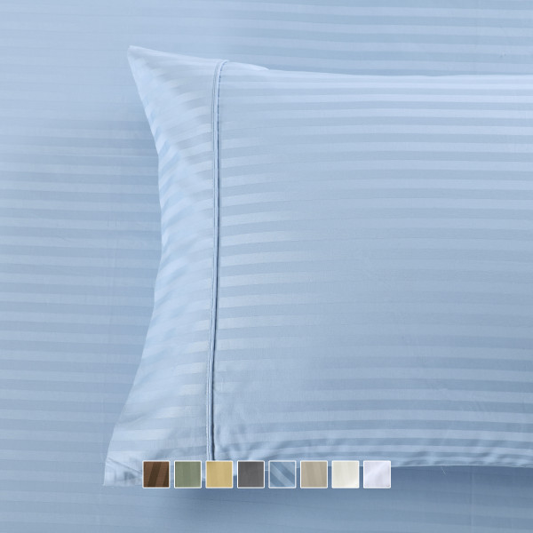 Pair of Pillowcases Wrinkle-Free 650Tc Cotton Damask Striped