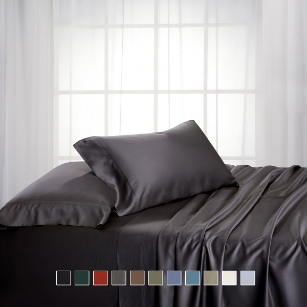 Charcoal-Luxury California King Bamboo Cotton Bed Sheets