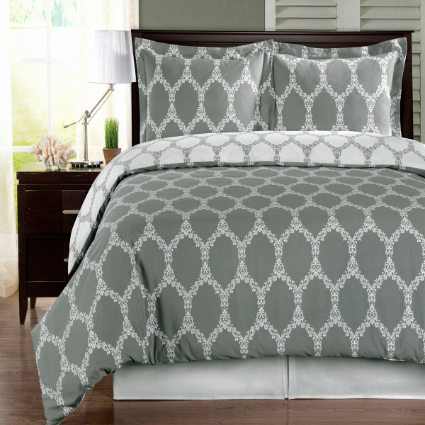 Gray-Brooksfield-100%-Cotton-Duvet-Cover-Set