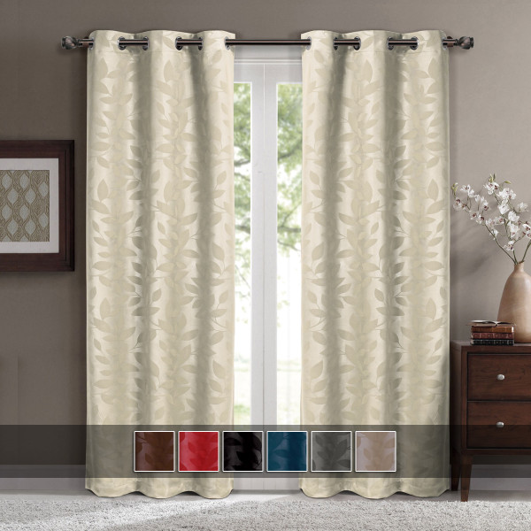 Virginia Leafy Design Blackout Weave Grommet Curtain Panels