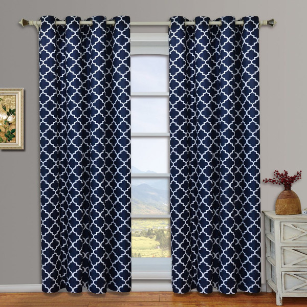 Navy Blue Curtain Pair