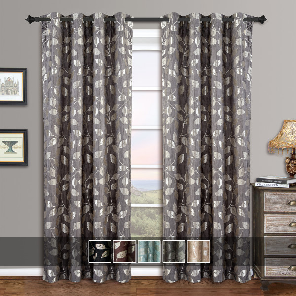 Charlotte Jacquard Drapes Grommet Window Curtain Panels (Pair) With Colors