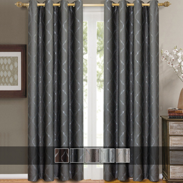 Laguna Contemporary Swirl Jacquard Curtain Panels With Top Grommets